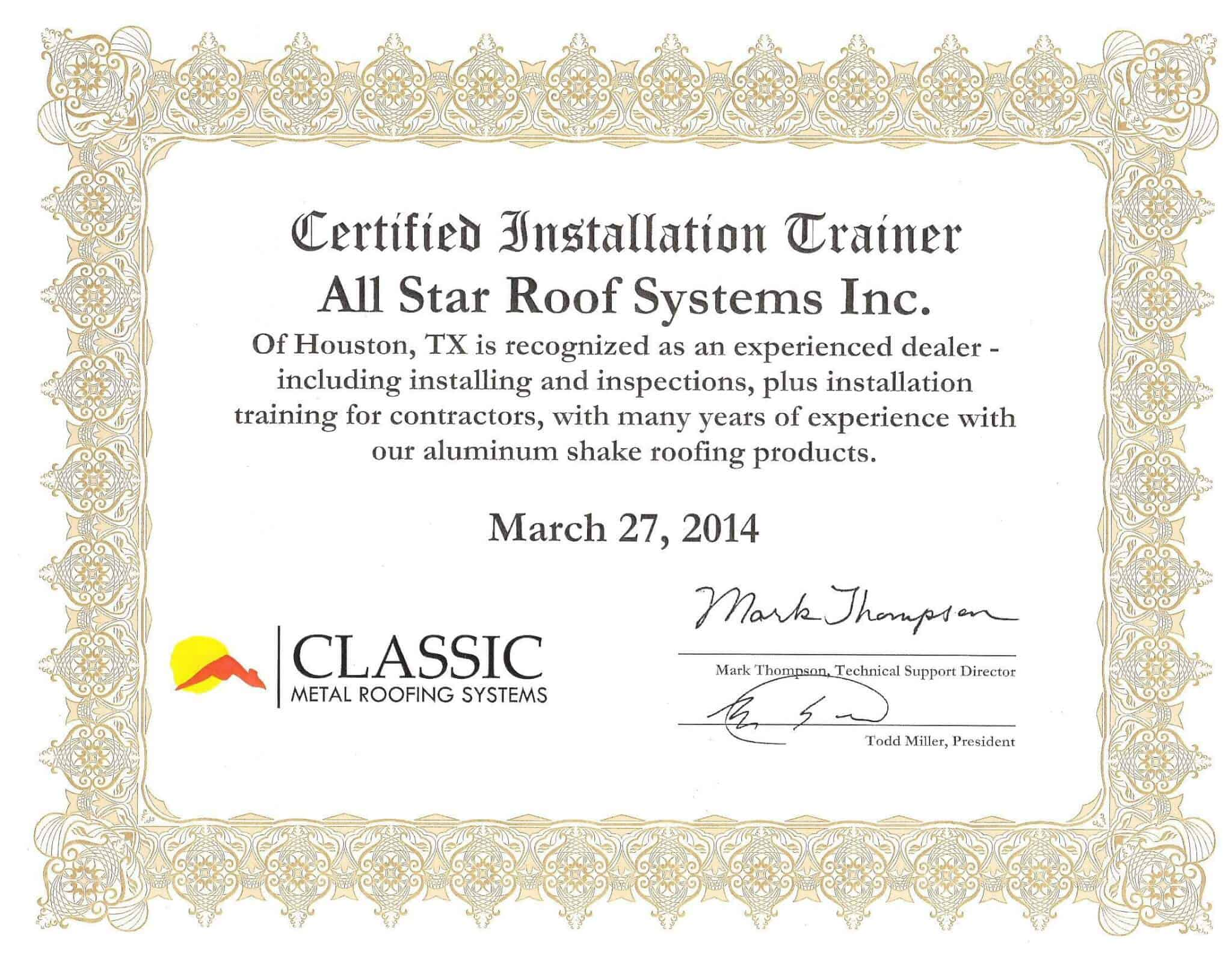 All Star Roof Systems Recognized as Experienced Dealer/Installer for Country Manor Shake Aluminum Roofing System