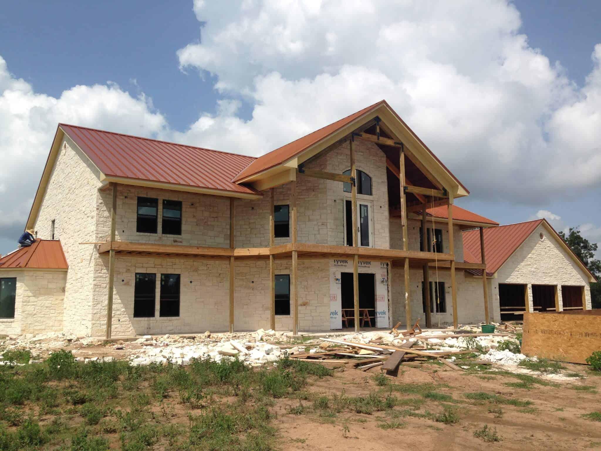 custom home builder metal roof installation